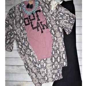 Jackets & Blazers - Womens Western Boho Snakeskin Kimono